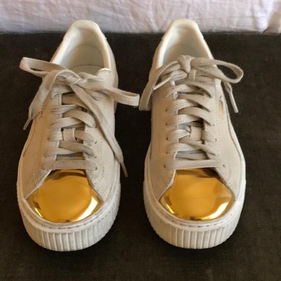 puma platform sneakers beige